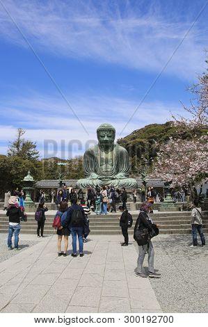 Kamakura, Japan - April 05, 2019: Great Buddha (daibutsu) On The Grounds Of Kotokuin Temple In Kamak