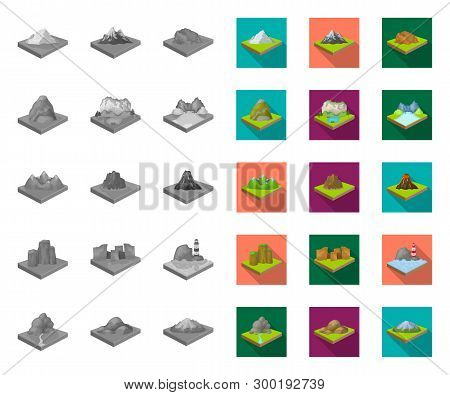 Mountains, Massive Mono, Flat Icons In Set Collection For Design. The Surface Of The Earth Vector Is