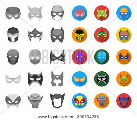 Carnival Mask Mono, Flat Icons In Set Collection For Design.mask On The Eyes And Face Vector Symbol
