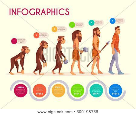 Human Evolution Infographics. Steps Of Monkey Transforming To Modern Man, Time Line. Male Character