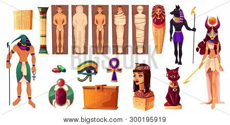 Egyptian Gods Thoth And Hathor. Ancient Attributes Of Culture And Religion Set. Egypt Deities And Ob