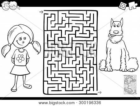 Black And White Cartoon Illustration Of Educational Maze Or Labyrinth Activity Game For Children Wit