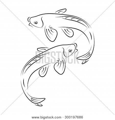 Japanese Carp Koi Character Abstract Ink Hand Drawn Vector Logo Cartoon. Retro Illustration. Chinese