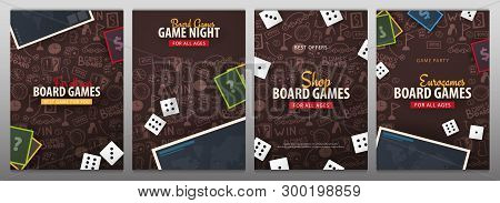 Set Of Board Games Banners With Dice,  Playing Cards And Map. Hand Draw Doodle Background. Vector Il