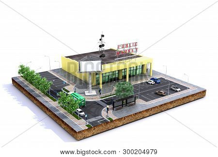 Piece Of Land Supermarket With Parking On The Ground 3d Render On White