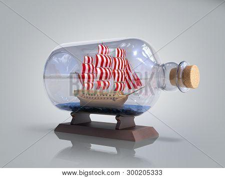 Ship In A Bottle 3d Render On Grey Gradient