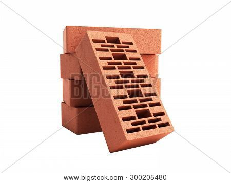 Solid Clay Bricks Used For Construction New Red Brick 3d Render On White Background No Shadow