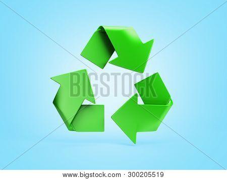 Volumetric Green Recycling Sign 3d Render On Blue Gradient