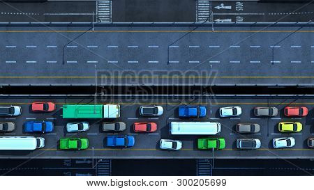 Cars On Highway In Traffic Jam 3d Render From Top