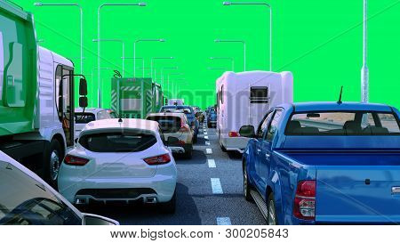 Cars On Highway In Traffic Jam 3d Render Green Screen