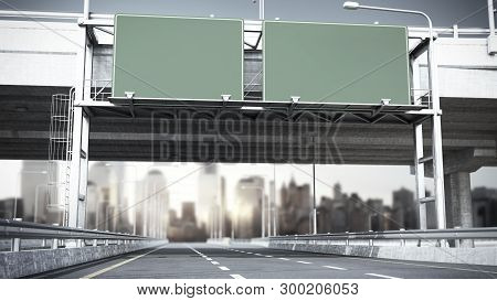 Day Road Freeway Travel Concept Route Big Board 3d Render On City Landscape