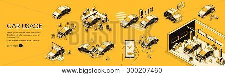 Car Insurance Company Horizontal Web Banner Or Poster With Cars On Repair Or Diagnostics, Wash Servi