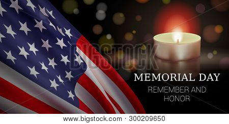Memorial Day Vector Banner Design Template With Realistic American Flag, Candle, And Text For Rememb