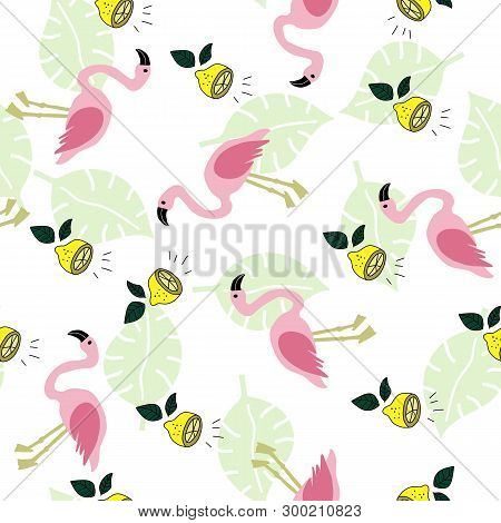 Seamless Pattern With Flamingo, Lemon And Green Monstera Leaves On The White Background. Tropical Il