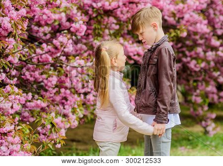Spring Time To Fall In Love. Kids In Love Pink Cherry Blossom. Love Is In The Air. Couple Adorable L