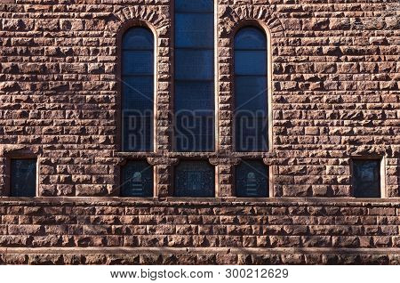 Stained Glass Windows And Exterior Wall Of Church Building