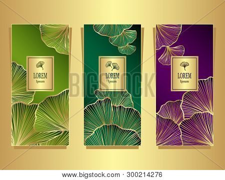 Set Template For Package Or Flyer From Luxury Background With  Leaves  In Olive Malachite Lilac For