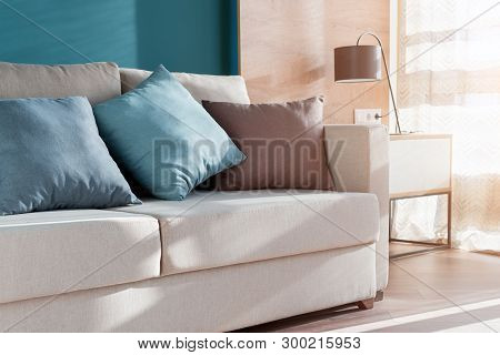 Minimalist Modern Living Room With Sofa In Loft Style Flat. Modern Loft Studio With Living Room, Ope