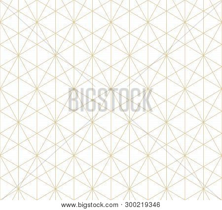 Golden Lines Pattern. Vector Geometric Seamless Texture With Delicate Grid, Thin Lines, Hexagons, Tr