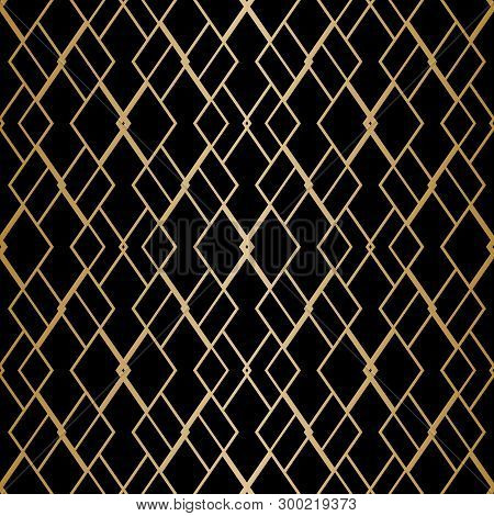 Vector Golden Geometric Seamless Pattern With Delicate Grid, Net, Thin Lines, Rhombuses, Diamonds. A