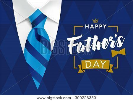 Happy Fathers Day Greeting Card. Banner Concept With Striped Blue Tie And Mens Sweater Rhombus Shape