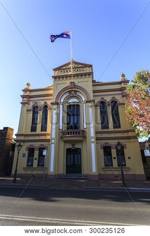 Armidale, Australia - April 10, 2019: View Of The Ostentatious Town Hall, A Two-storey High Victoria