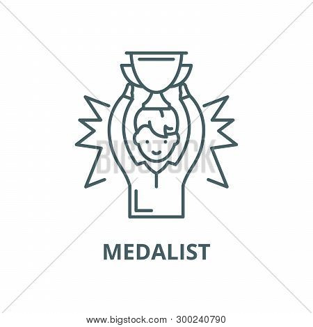 Medalist Vector Line Icon, Linear Concept, Outline Sign, Symbol