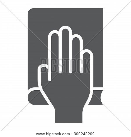 Honestly Glyph Icon, Truth And Trust, Palm On Book Sign, Vector Graphics, A Solid Pattern On A White