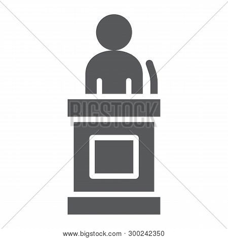 Witness Glyph Icon, Justice And Law, Defendant Sign, Vector Graphics, A Solid Pattern On A White Bac