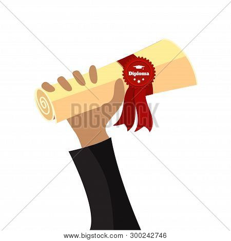 Crab Holds Folded Diploma With Ribbon And Stamp Vector Flat Illustration