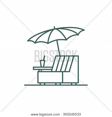 Rattan Chair Under Umbrella Line Style Icon. Symbol Of A Place For A Summer Holiday And A Cocktail.