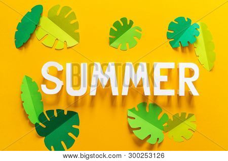 May Hand Lettering Card. Word Summer Surrounded By Fruits And Berries, Tropical Leaf Yellow Backgrou
