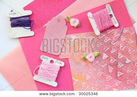 Pink Card Making Composition