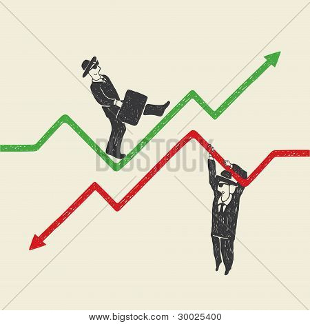 Businessman up and down