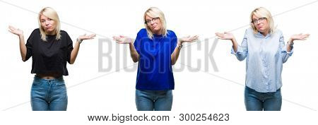 Collage of beautiful blonde woman over isolated background clueless and confused expression with arms and hands raised. Doubt concept.