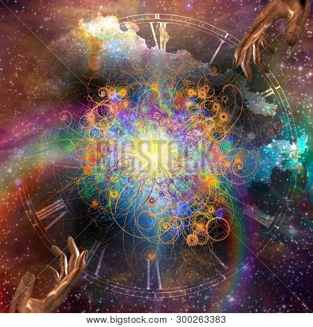 Big Bang. Creation of time and matter. Star filled space with gesturing hands. 3D rendering