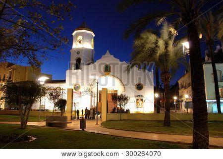 Fuengirola, Spain - December 19, 2008 - Front View Of Carmen Parish Church (parroquia Nuestra Senora