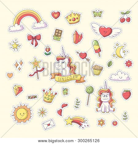 Unicorn Sticker With Heart, Clouds, Rainbow, Sun, Moon And More. Set Of Cute Cartoon Characters. Vec