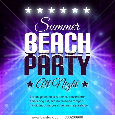 Summer Beach Party Flyer. Disco Party Background In Purple And Blue Colors. Place For Text. Vector I