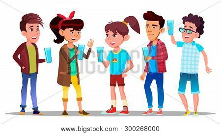 Thirsty Characters Children Drink Water Vector. Smiling Teenagers Holding Glasses With Freshness Bev
