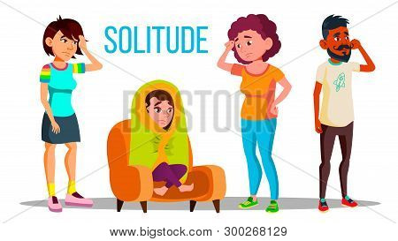 Solitude Character Depression Concept Set Vector. Teenage Girl With Depression Wrapped In A Blanket,