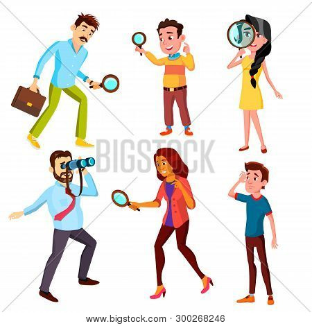 Curious Characters Looking Information Set Vector. Woman And Man Searching Through A Magnifying Glas