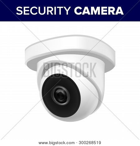 Ceiling Supervision Security Video Camera Vector. Cctv Camera Transmit Video And Audio Signal To Wir