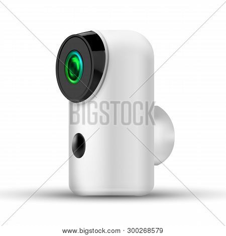 Modern Compact Baby Security Wifi Ip Camera Vector. Stylish Network Recording Video And Audio Online