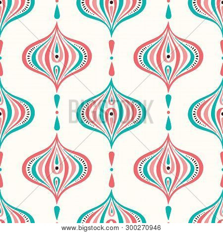 Classic Colorful Handdrawn Ogee Vector Seamless Pattern. Retro Blue And Pink Elegant Traditional Bac
