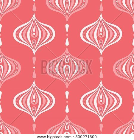 Classic Monochrome Coral Handdrawn Ogee Vector Seamless Pattern. Retro Pink Elegant Traditional Back