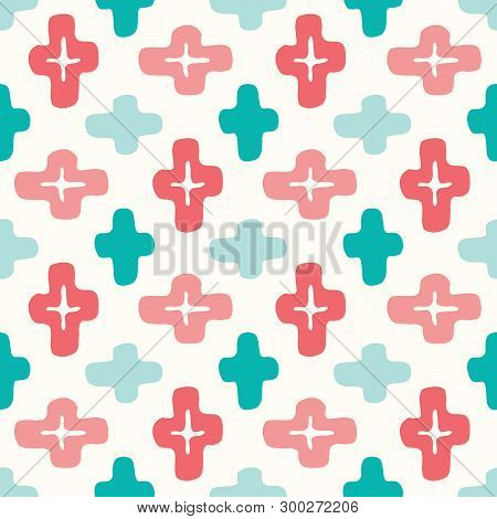 Colorful Ethnic Handdrawn Crosses Vector Seamless Pattern. Brightelegant Traditional Background Perf