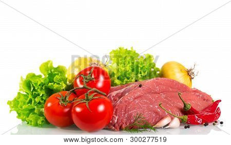 Fresh Meat And Vegetables For Cooking Your Favorite Dishes Isolated On White Background