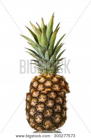 Fresh Juicy Pineapple Cut In Half Isolated On White Background