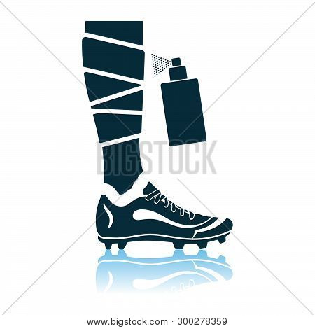 Soccer Bandaged Leg With Aerosol Anesthetic Icon. Shadow Reflection Design. Vector Illustration.